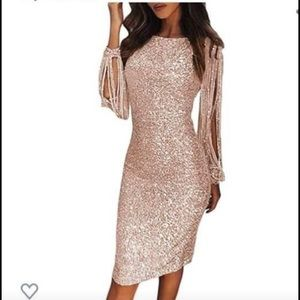 Sequin sleeve dress